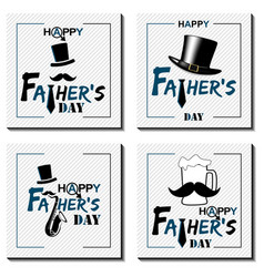 set of happy father s day lettering cards happy vector image