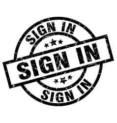 Sign in round grunge black stamp vector