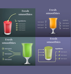 Smoothie fruit juice banner set realistic style vector