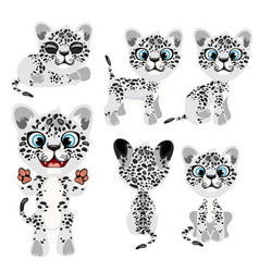 spotted gray tiger cub in different poses and mood vector image