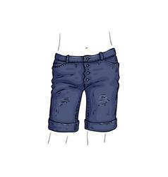 Stylish jean shorts female denim pants vector