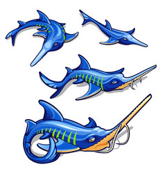 the growth stage of blue sturgeon isolated on vector image
