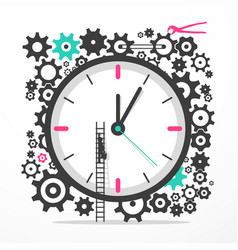 time icon with cogs big clock with man on ladder vector image