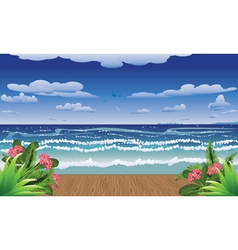 Tropical sea and jetty vector
