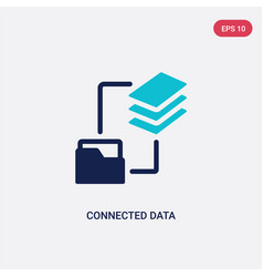 two color connected data icon from business and vector image