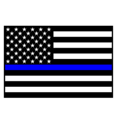 Usa police blue line flag vector