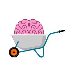 wheelbarrow and brain mind brains in garden vector image
