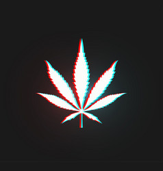white leaf cannabis silhouette with stereo vector image