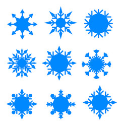 winter blue christmas snow flat crystal element vector image
