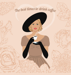 woman drinking coffee vector image