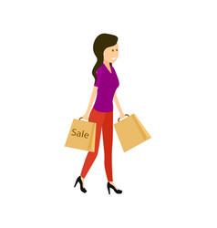 young woman with supermarket paper bag vector image