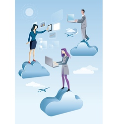Cloud Computing Men And Woman vector image vector image