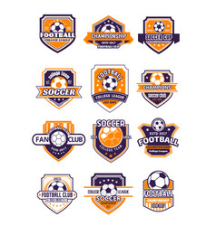 football sport badge with soccer ball on shield vector image vector image