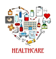 Heart icon with healthcare and medical sketches vector image vector image
