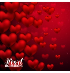 Love romantic 3D Realistic Red Hearts Background vector image