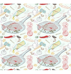 Seamless Background with taste Fish dish vector image