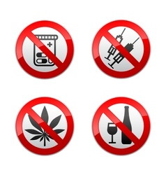 set prohibited signs - drugs vector image vector image
