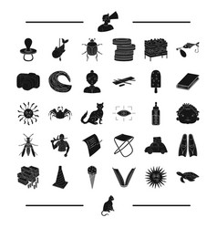 animal rest insect and other web icon in black vector image