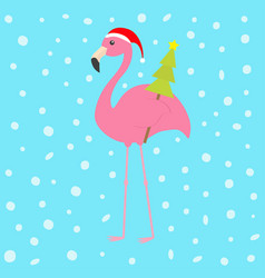 pink flamingo with wing holding christmas fir tree vector image