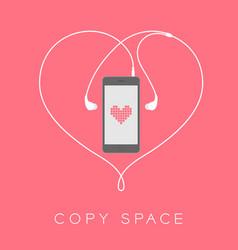 Smartphone black color flat design mock up heart vector