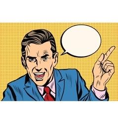 speaker businessman pointing finger pop art retro vector image vector image