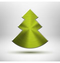 Tecnology Christmas tree icon with metal texture vector image