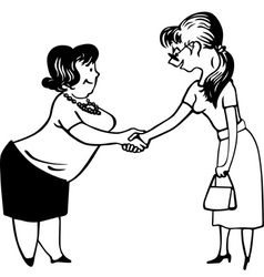 Two young women shaking hands vector