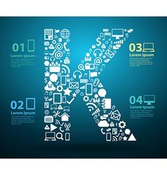 Application icons alphabet letters K vector image vector image