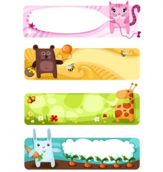 cute animal card set vector image vector image