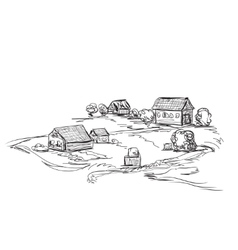 Houses in village Landscape sketch vector image
