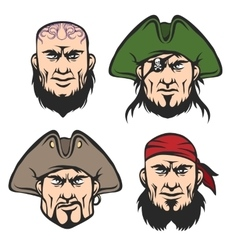 Pirate Mascot Faces Set vector image