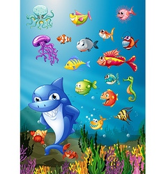 Shark and fish swimming under the sea vector image vector image