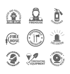 Firefighting label set vector image vector image