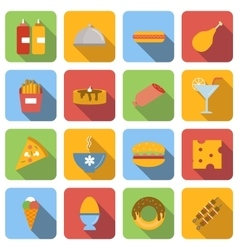 Food flat icons set vector image