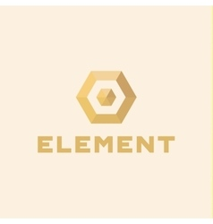 Logos element volume and flat polygon style vector image vector image