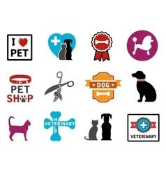 Pet veterinary icons vector