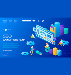 3d it specialists working on seo analytics team vector image