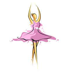 abstract drawing of a girl in pink dress artwork vector image