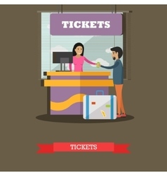 Airport ticket counter concept vector image