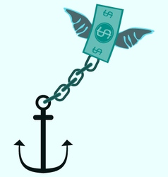 anchor and fly money debt tax concept vector image