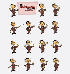 Asian businessman set of postures of the same vector
