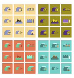assembly flat icons nature disaster tsunami vector image