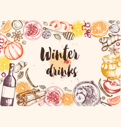 Background with mulled wine and spices vector
