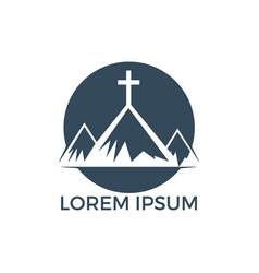 Baptist cross in mountain logo design vector