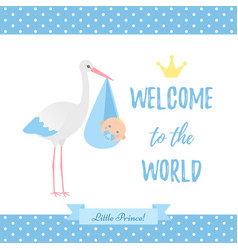 bashower boy card blue banner with stork vector image