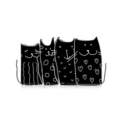 black cats sketch for your design vector image