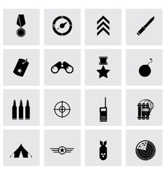 black military icons set vector image