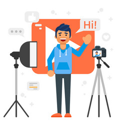 Blogger man that records video blog vector