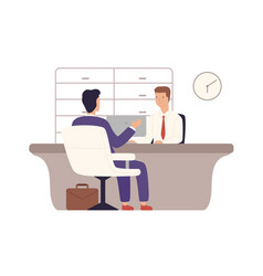 Businessman in suit client bank sitting and vector