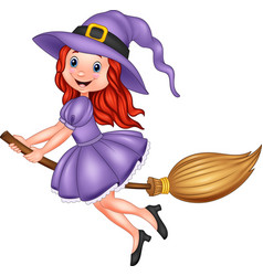 cartoon young witch flying with a broom vector image